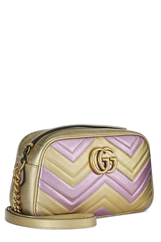 Pink & Gold Leather GG Marmont Crossbody Small, , large image number 2