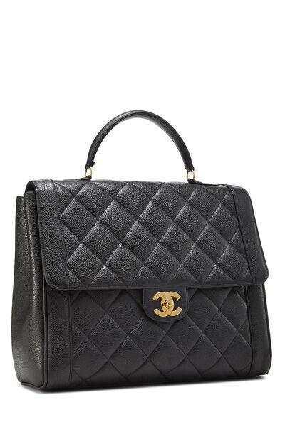 Black Quilted Caviar Handbag, , large