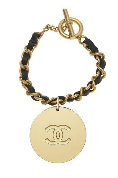 Gold & Black Leather Chain Bracelet, , large