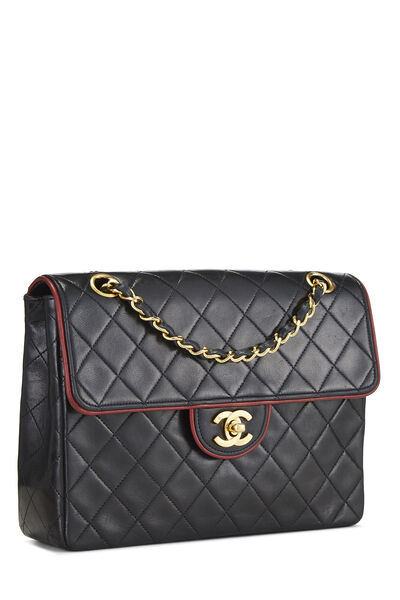 Black Quilted Lambskin Piped Half Flap Small, , large