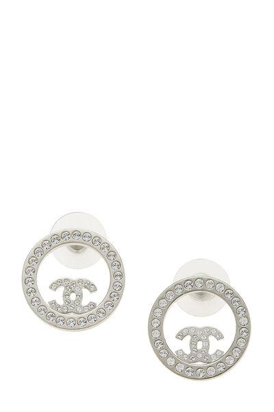 Silver & Crystal 'CC' Circle Earrings