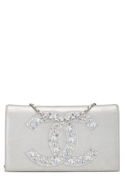 Metallic Silver Crystal 'CC' Full Flap Bag