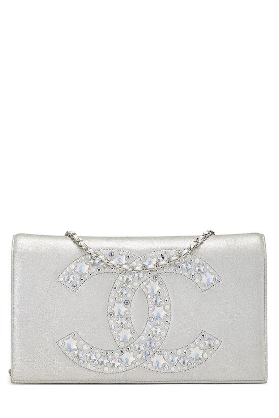 Metallic Silver Crystal 'CC' Full Flap Bag, , large image number 0