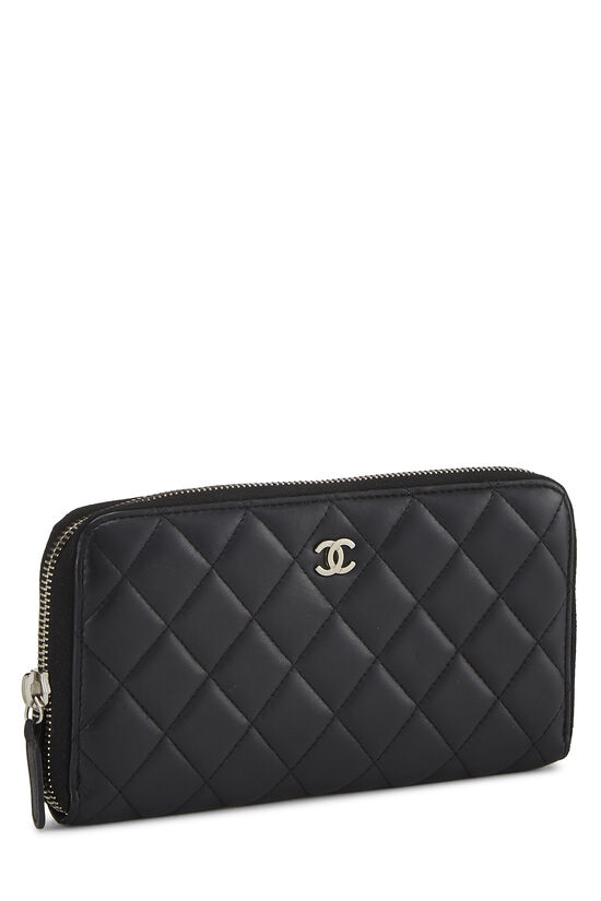 Black Quilted Lambskin Zip Wallet, , large image number 1