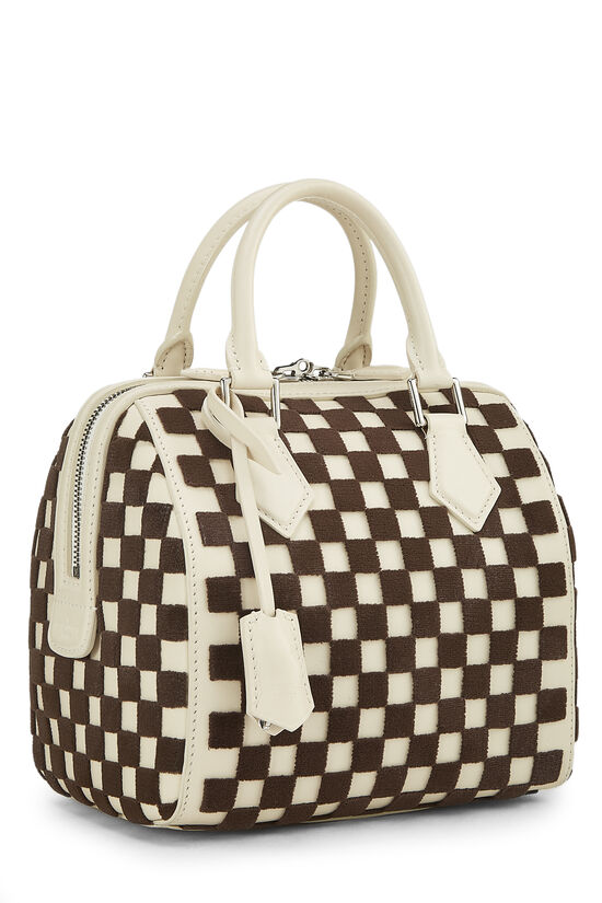 Cream & Brown Damier Cubic Speedy Cube PM, , large image number 0