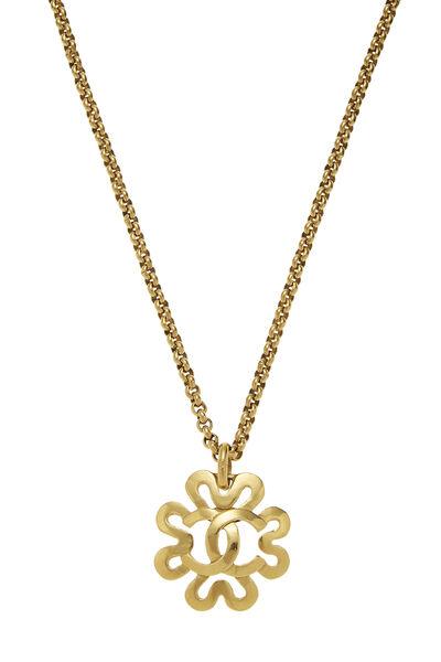 Gold 'CC' Border Necklace, , large