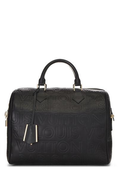 Black Embossed Leather Souple Speedy Cube