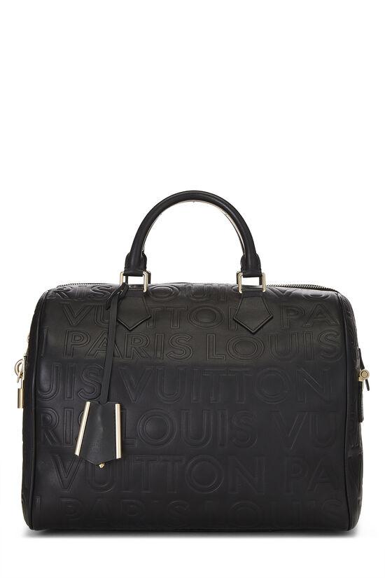 Black Embossed Leather Souple Speedy Cube, , large image number 0