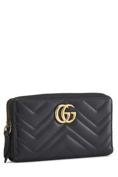 Black Leather 'GG' Marmont Wallet, , large