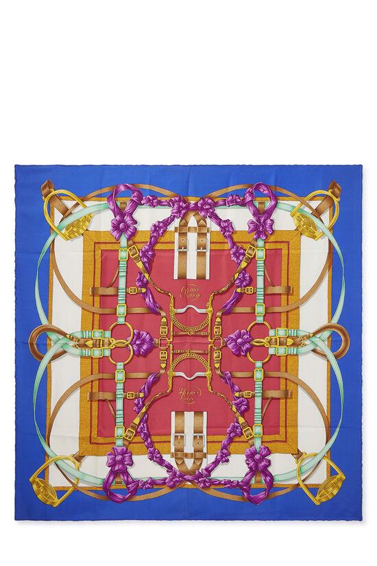 Blue & Multicolor 'Grand Manege' Silk Scarf 90, , large image number 0