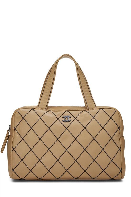 Beige Leather Wild Stitch Boston Bag, , large image number 0