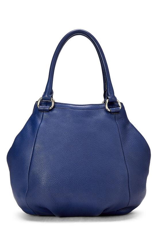 Blue Vitello Daino Shoulder Bag, , large image number 3