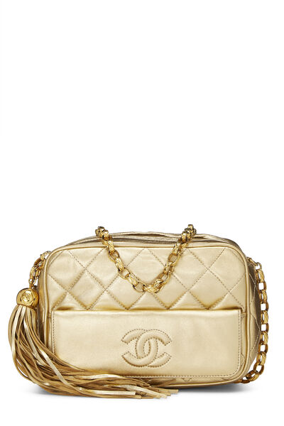 Gold Quilted Lambskin Pocket Camera Bag Mini