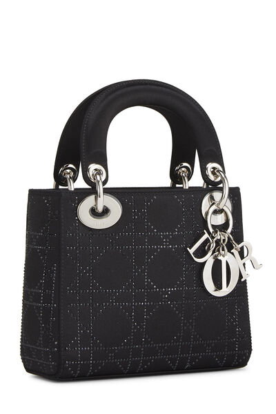 Black Crystal Cannage Satin Lady Dior Mini, , large