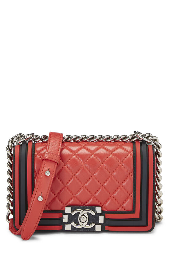 Red Quilted Lambskin Rubberized Boy Bag Small, , large image number 0