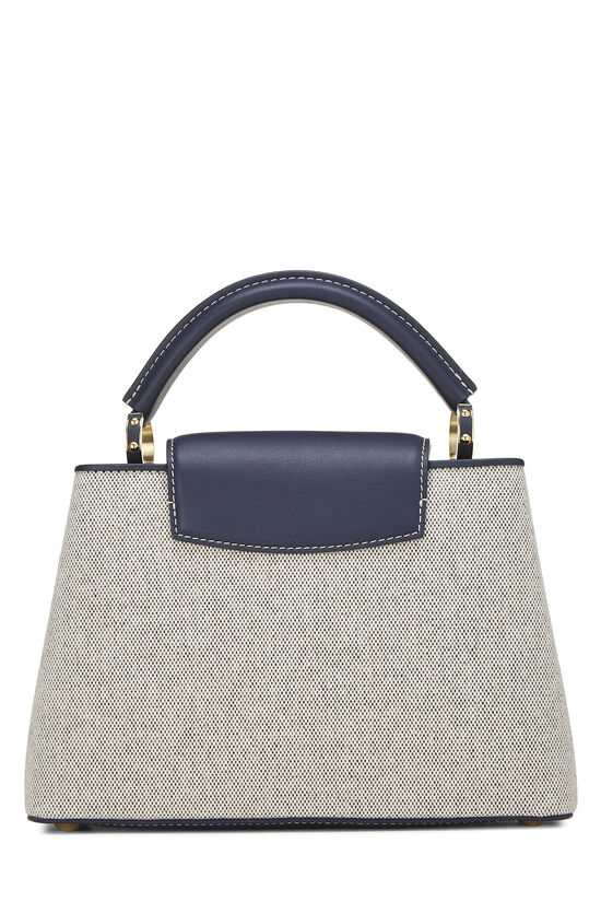 Natural Canvas & Navy Leather Capucines BB, , large image number 4