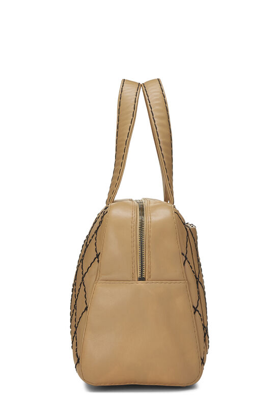 Beige Leather Wild Stitch Boston Bag, , large image number 2