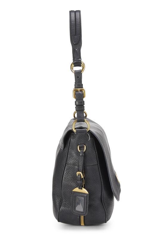 Black Vitello Daino Shoulder Bag, , large image number 2