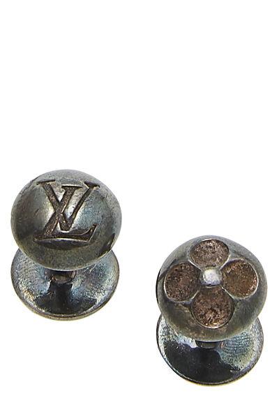 Silver Monogram Cufflinks & Purple Taiga Case