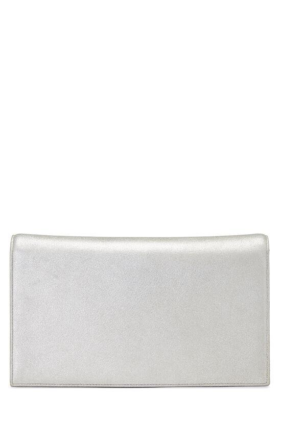 Metallic Silver Crystal 'CC' Full Flap Bag, , large image number 4