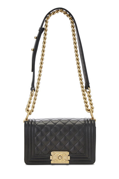 Black Quilted Caviar Boy Bag Small, , large
