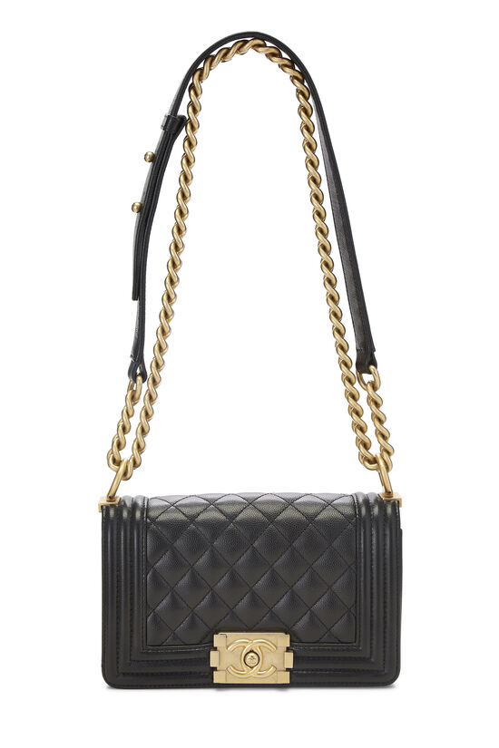 Black Quilted Caviar Boy Bag Small, , large image number 1