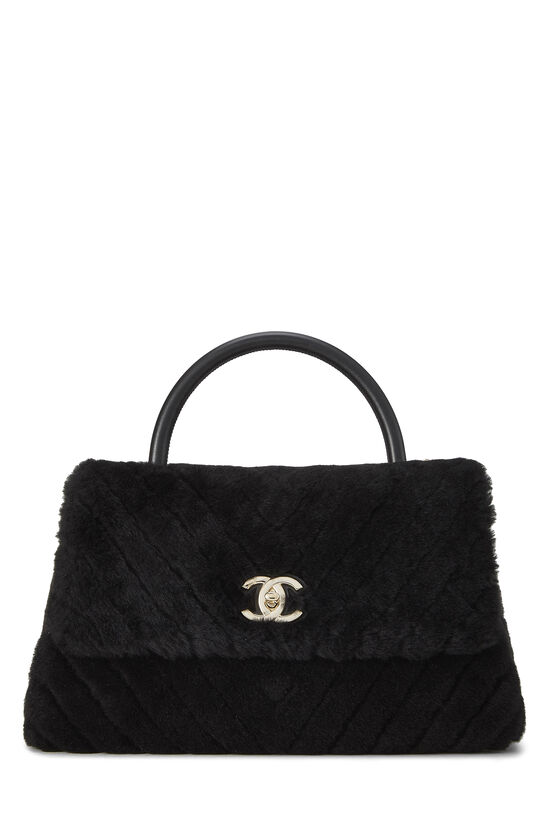 Black Chevron Shearling Coco Handle Bag, , large image number 0