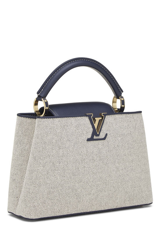 Natural Canvas & Navy Leather Capucines BB, , large image number 2