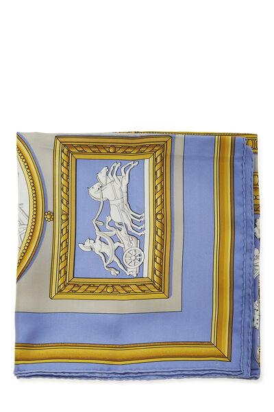 Blue & Multicolor 'Wedgwood' Silk Scarf 90, , large