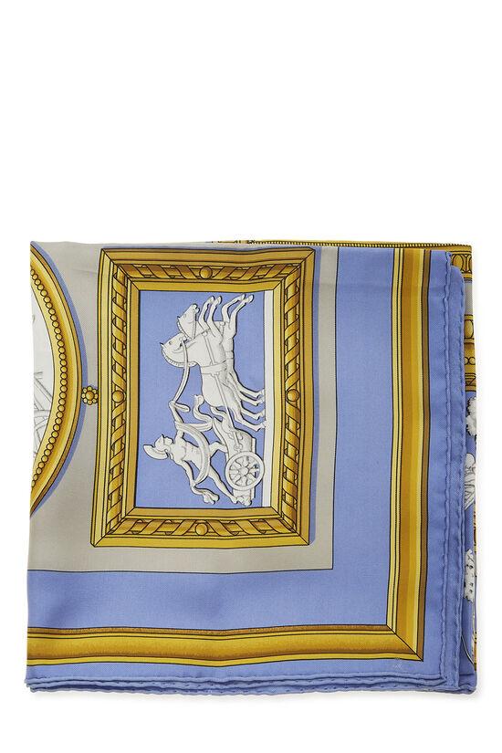 Blue & Multicolor 'Wedgwood' Silk Scarf 90, , large image number 1