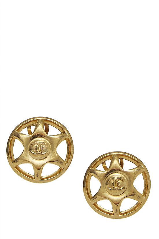 Gold Star Badge Earrings, , large image number 0