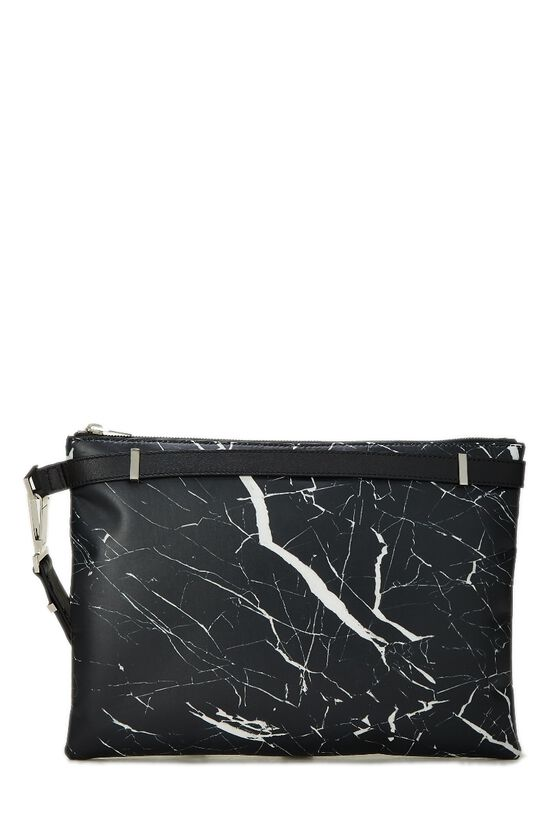 Black & White Marble Leather Phileas Clutch, , large image number 3