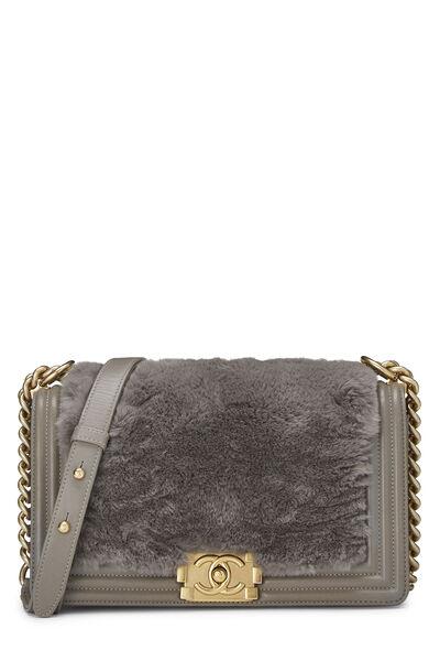 Grey Fur & Calfskin Boy Bag Medium