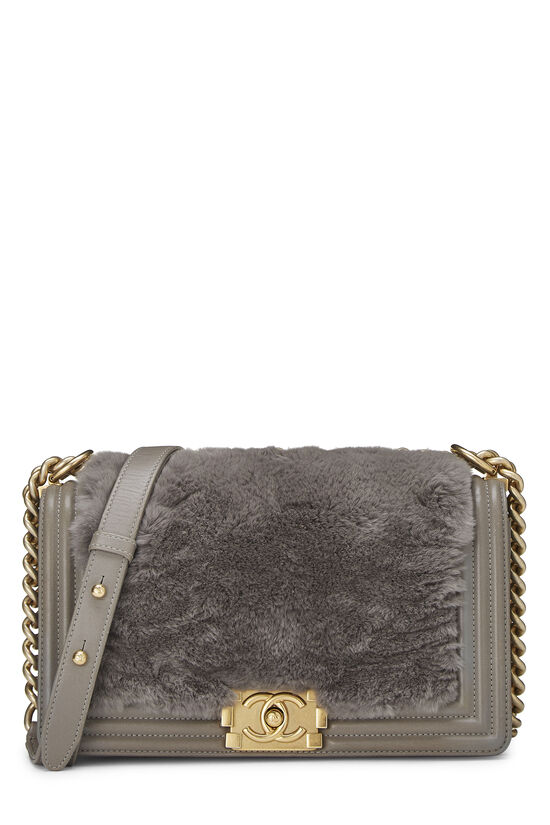 Grey Fur & Calfskin Boy Bag Medium, , large image number 0