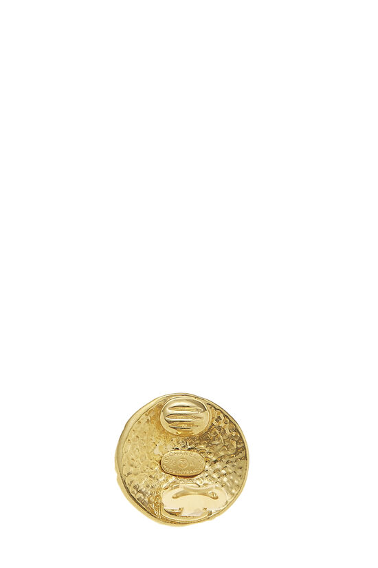 Gold 'CC' Engraved Earrings, , large image number 2