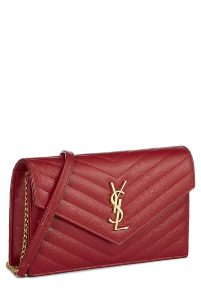 Red Grained Calfskin Envelope Wallet-On-Chain (WOC), , large