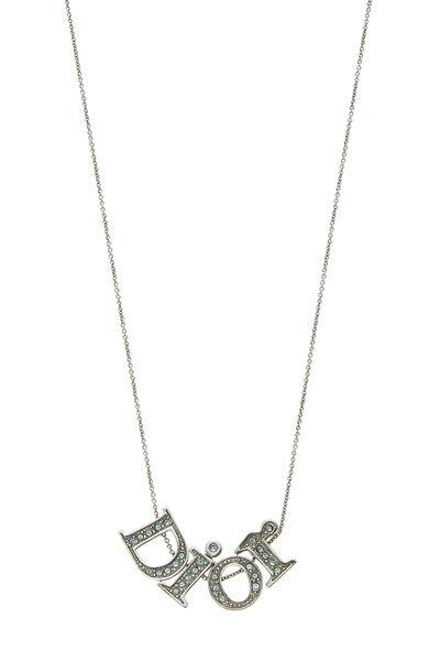 Silver & Blue Crystal Logo Necklace, , large