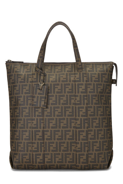 Brown Zucca Coated Canvas Vertical Tote Large