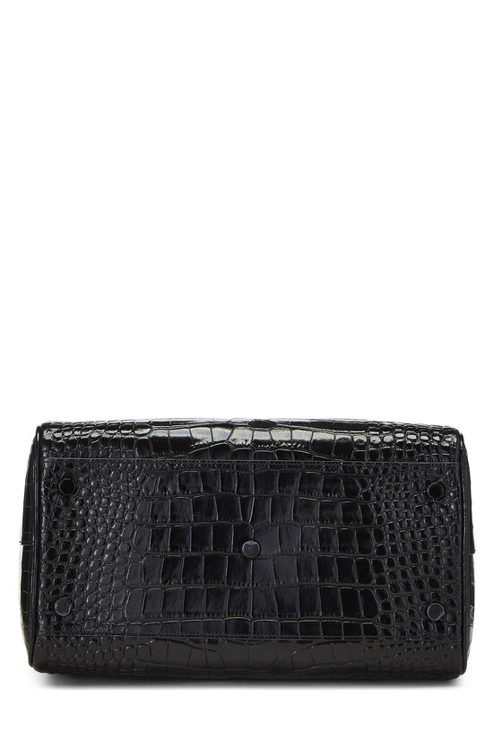 Black Embossed Leather Convertible Boston Bag, , large image number 5