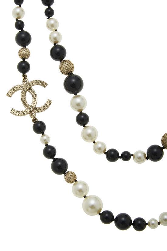 Black & White Faux Pearl 'CC' Necklace, , large image number 2