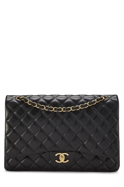 Black Quilted Lambskin New Classic Double Flap Maxi