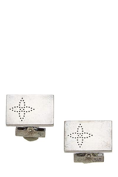 Silver Monogram Cufflinks & Damier Ebene Case