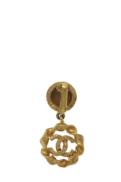 Gold Twisted 'CC' Dangle Earrings, , large
