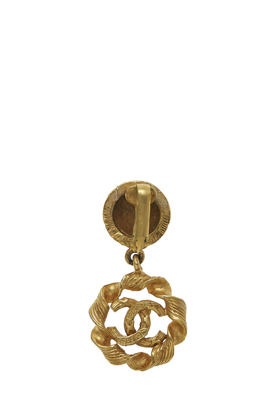 Gold Twisted 'CC' Dangle Earrings, , large image number 1