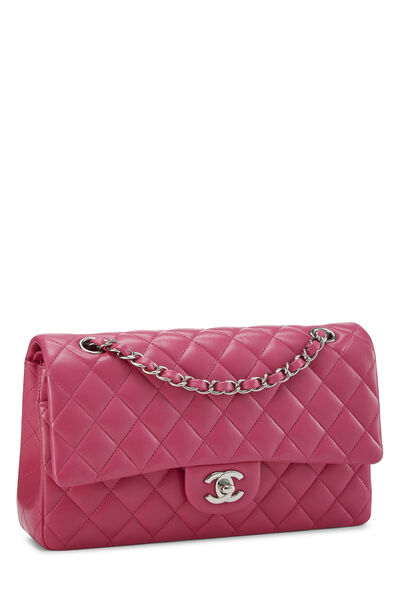 Pink Quilted Lambskin Classic Double Flap Medium, , large
