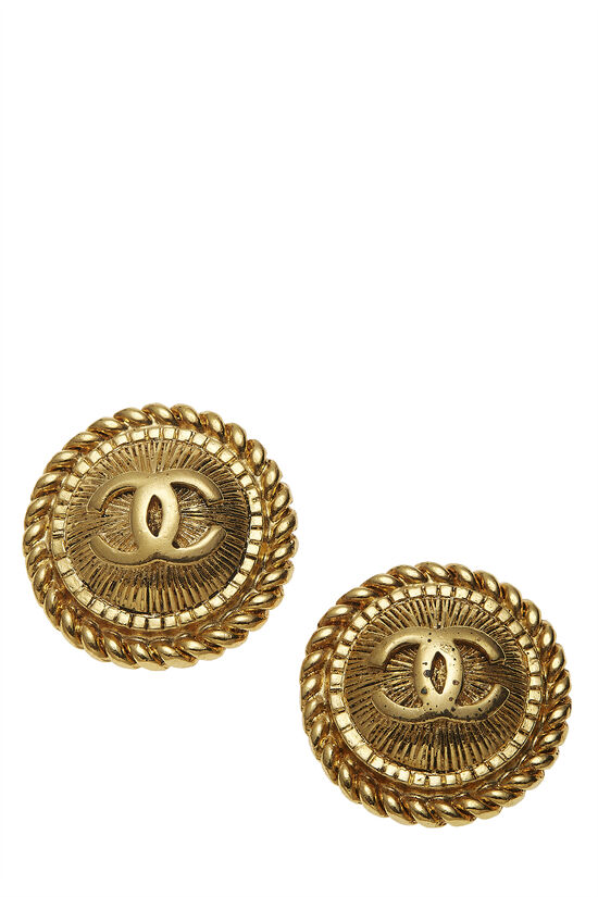 Gold Rope Edge 'CC' Earrings, , large image number 0