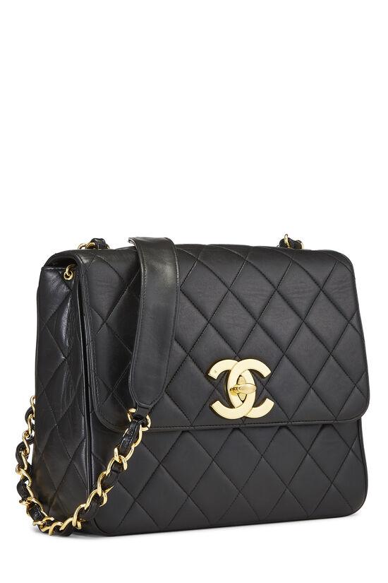 Black Quilted Lambskin 'CC' Square Shoulder Bag, , large image number 2
