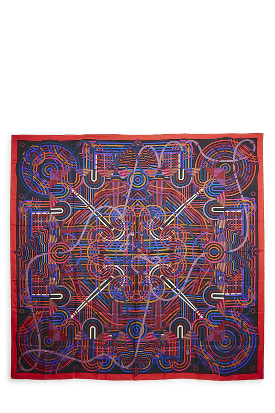 Red & Multicolor La Fabrique des Rubans Silk Scarf 140, , large image number 0