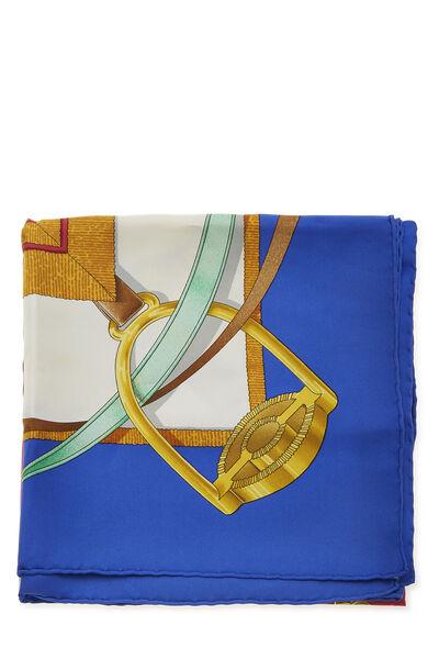 Blue & Multicolor 'Grand Manege' Silk Scarf 90, , large