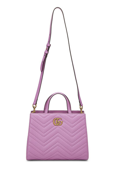 Pink Leather GG Marmont Top Handle Bag Small, , large